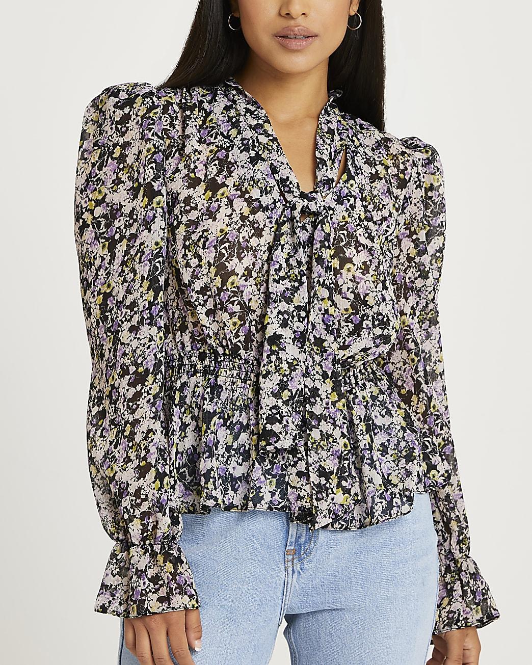 Petite black floral tie neck blouse