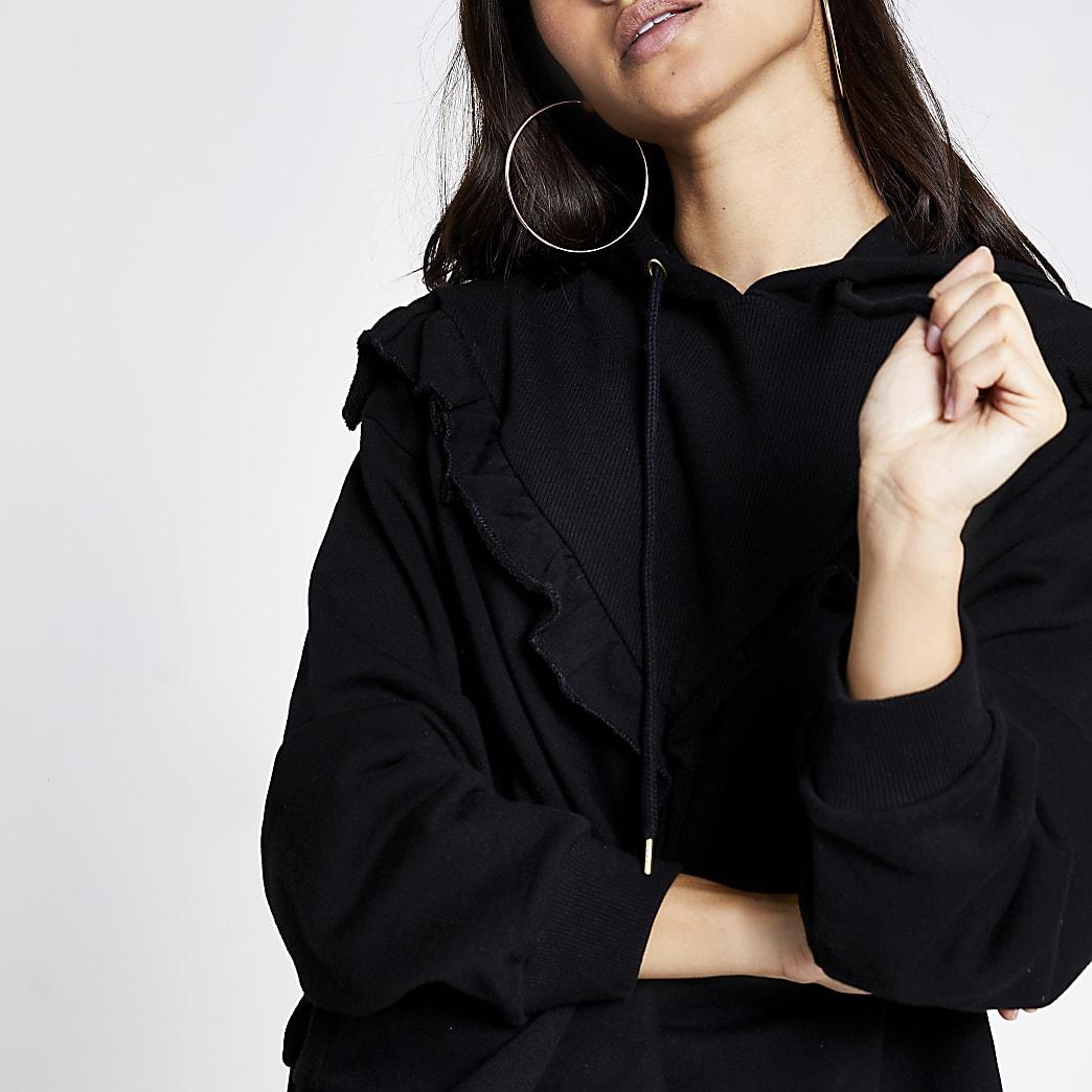 Petite black frill chevron ribbed crop hoodie