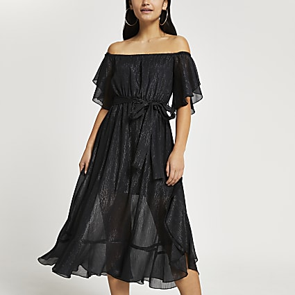Petite black frill sleeve bardot maxi dress