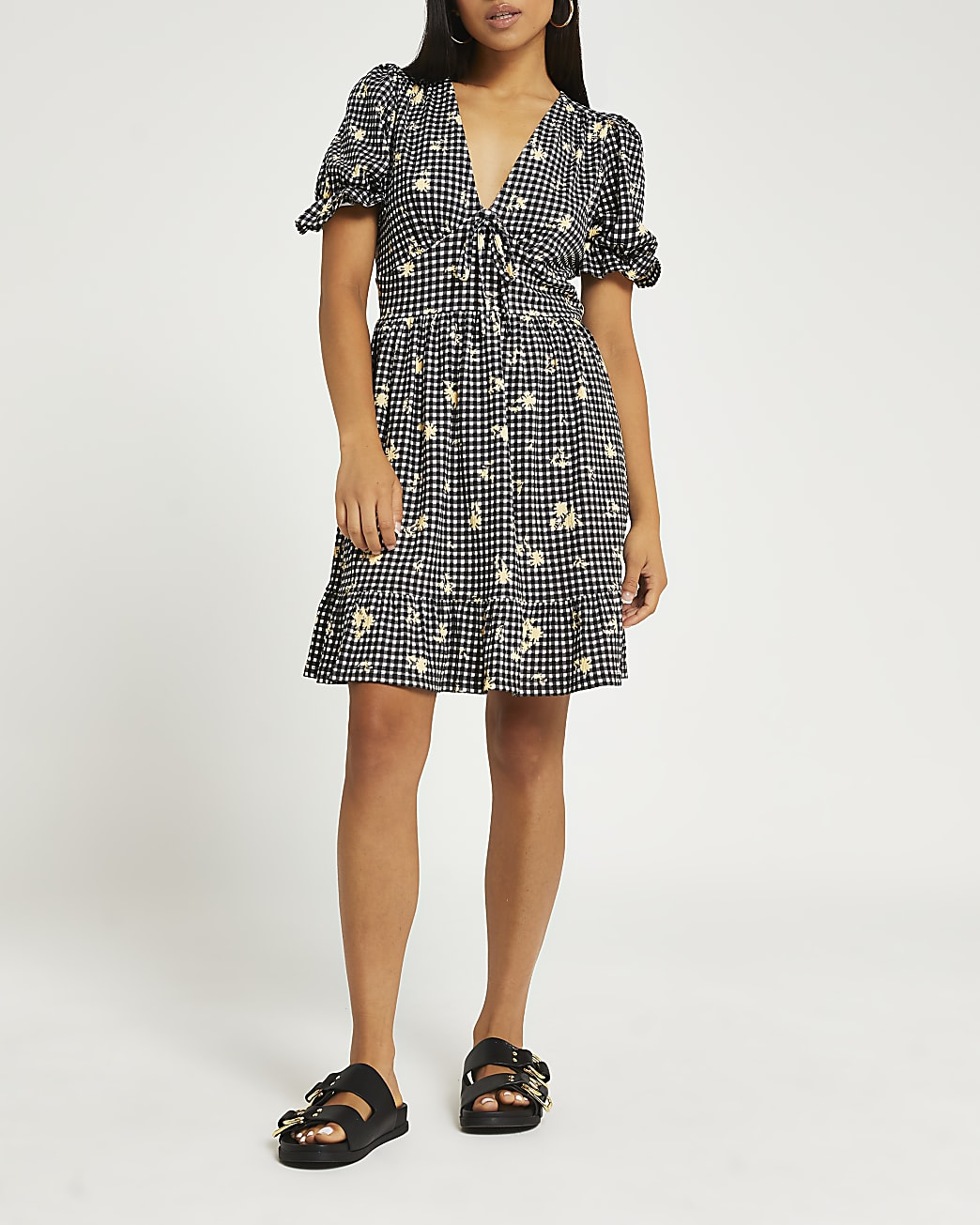 Petite black gingham embroidered mini dress