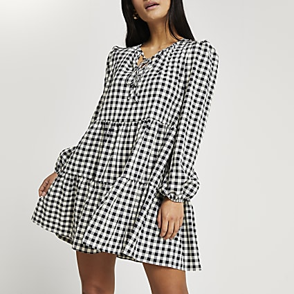 Petite black gingham tie neck smock dress