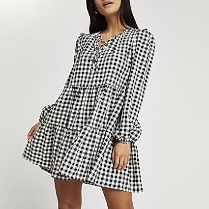 Petite black gingham tiered mini dress
