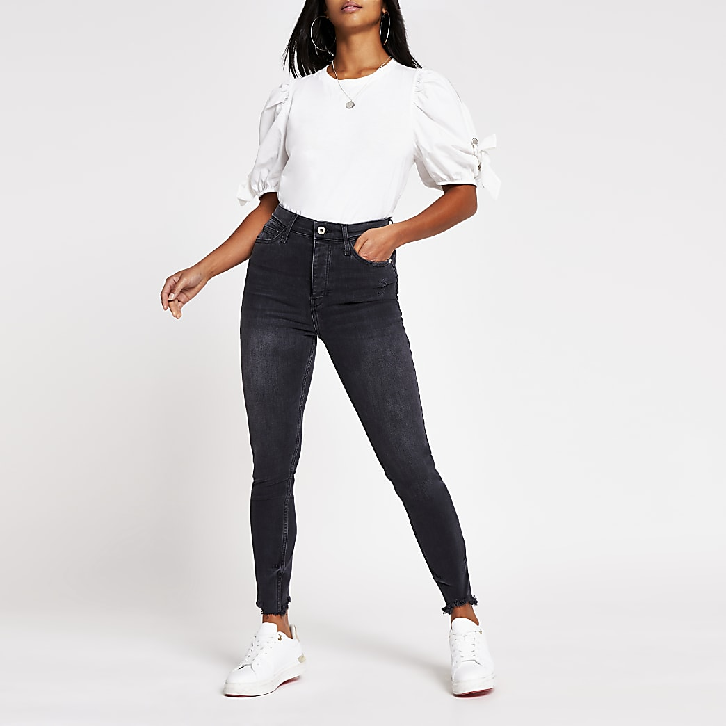 Petite black Hailey high rise skinny jeans