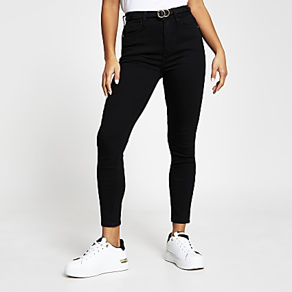 Petite black high rise skinny denim jeans