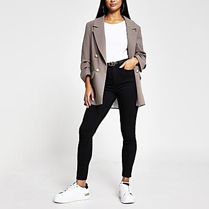 Petite black high rise skinny denim jeans