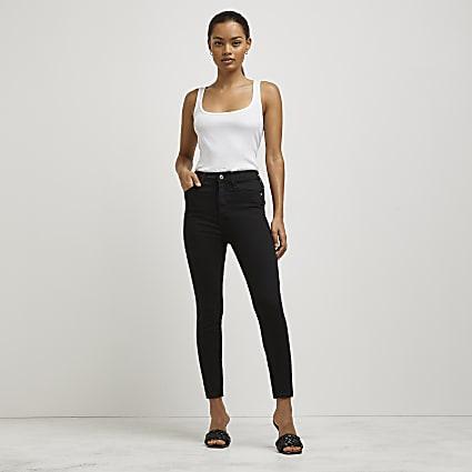 Petite black high rise skinny jeans