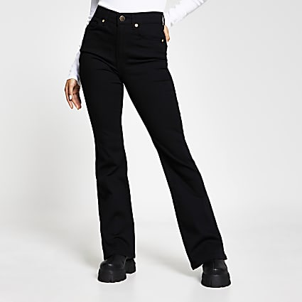 Petite Black high waisted bootcut jeans