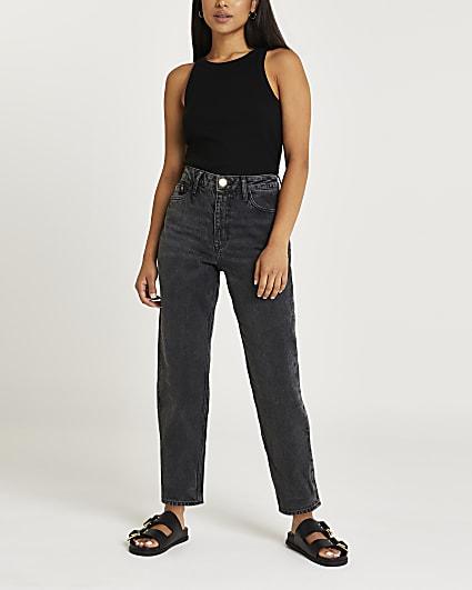 Petite black high waisted mom jeans