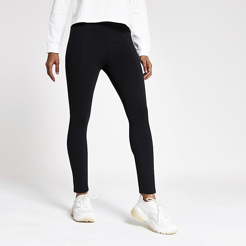 Petite black jersey panelled leggings