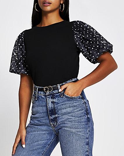 Petite black lace puffball sleeve t-shirt