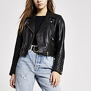 Petite black leather quilted biker jacket