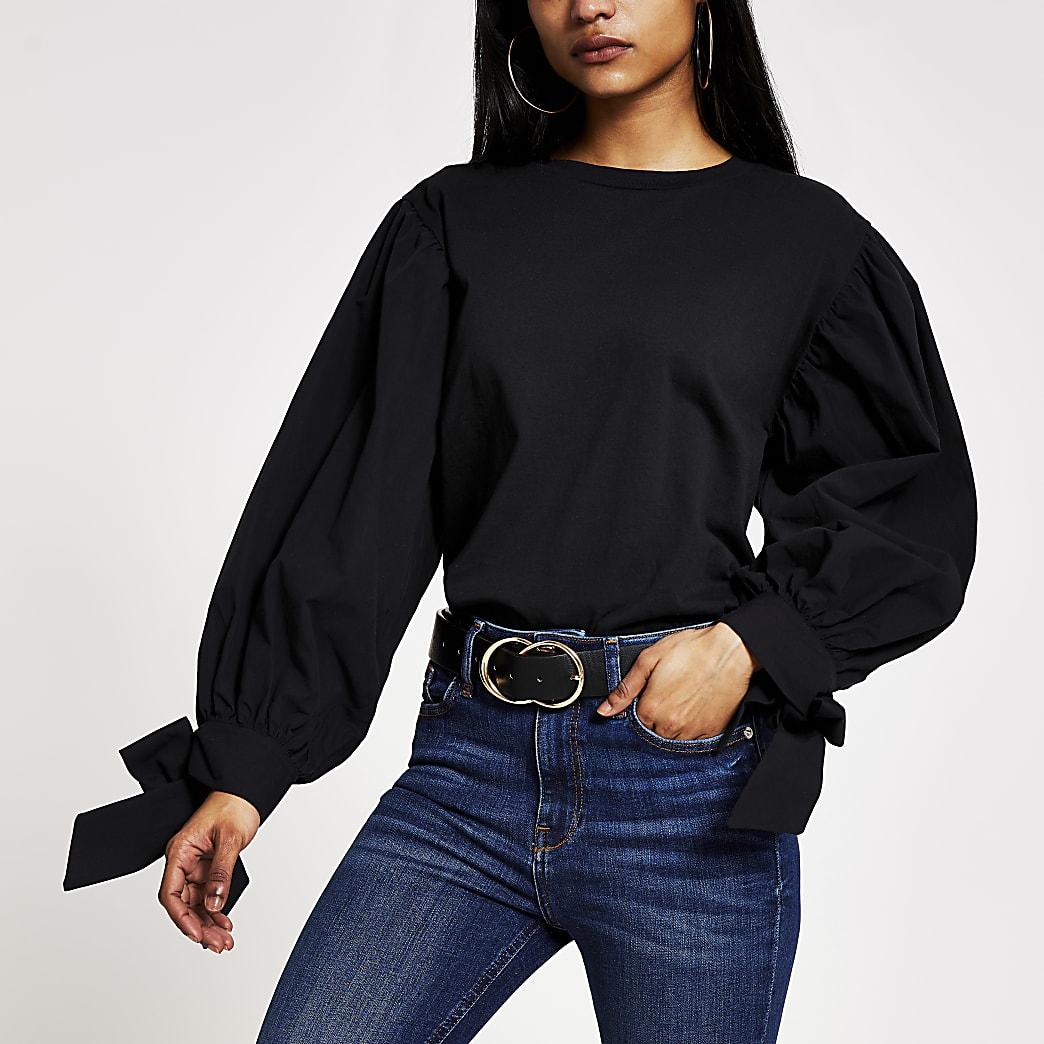 Petite–T-shirt noirà manches longues bouffantes en popeline
