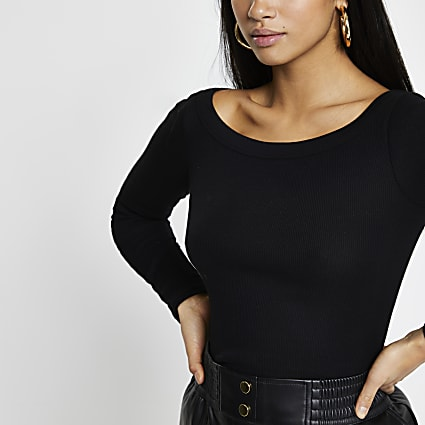 Petite black long sleeve boat neck top