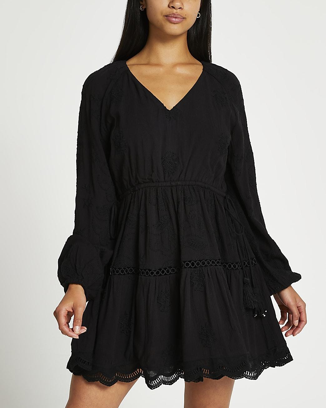 Petite black long sleeve broderie dress