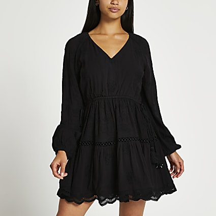 Petite black long sleeve broderie dress