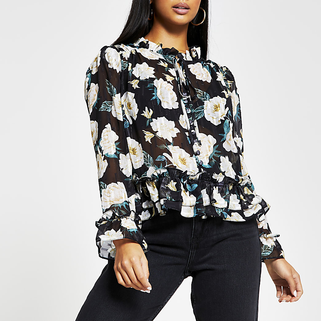 Petite black long sleeve floral peplum blouse