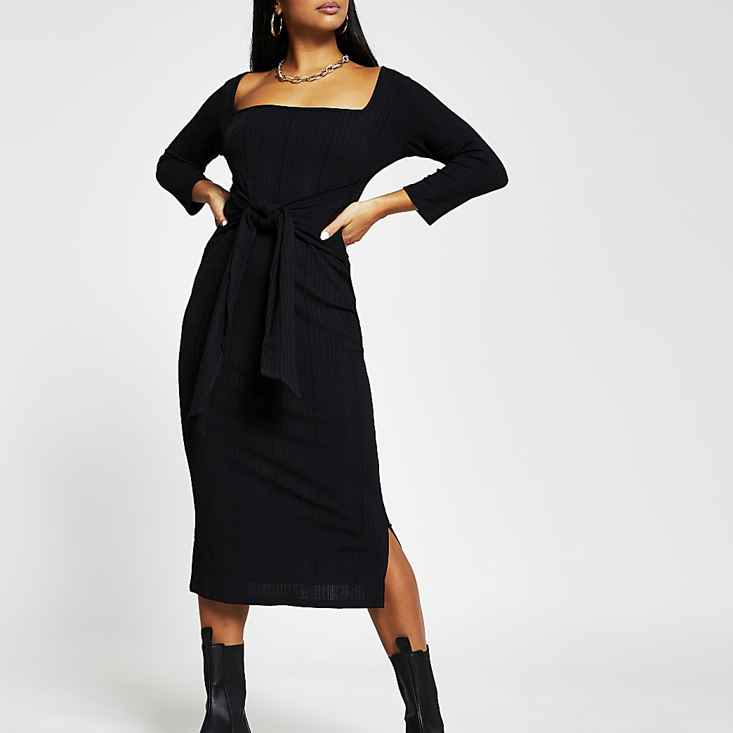 Petite black long sleeve knot waist dress