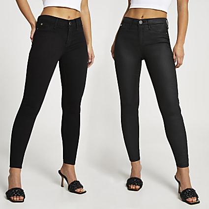 Petite Black mid rise skinny jeans mulitpack