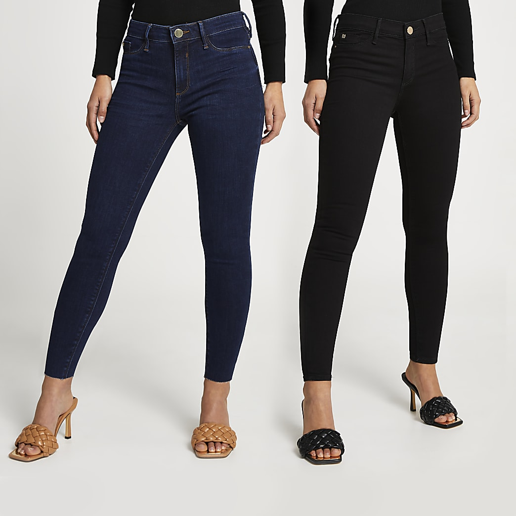 Petite Black mid rise skinny jeans multipack