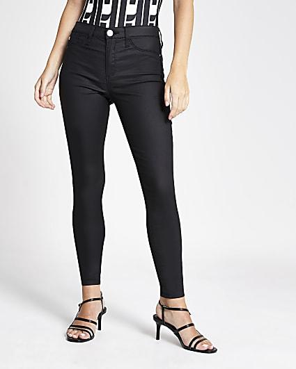 Petite black Molly mid rise skinny jeans