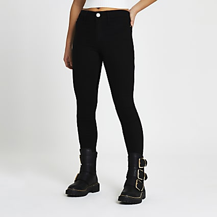 Petite Black Molly mid rise skinny jeans