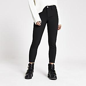 RI Petite - Zwarte Molly broek met halfhoge taille