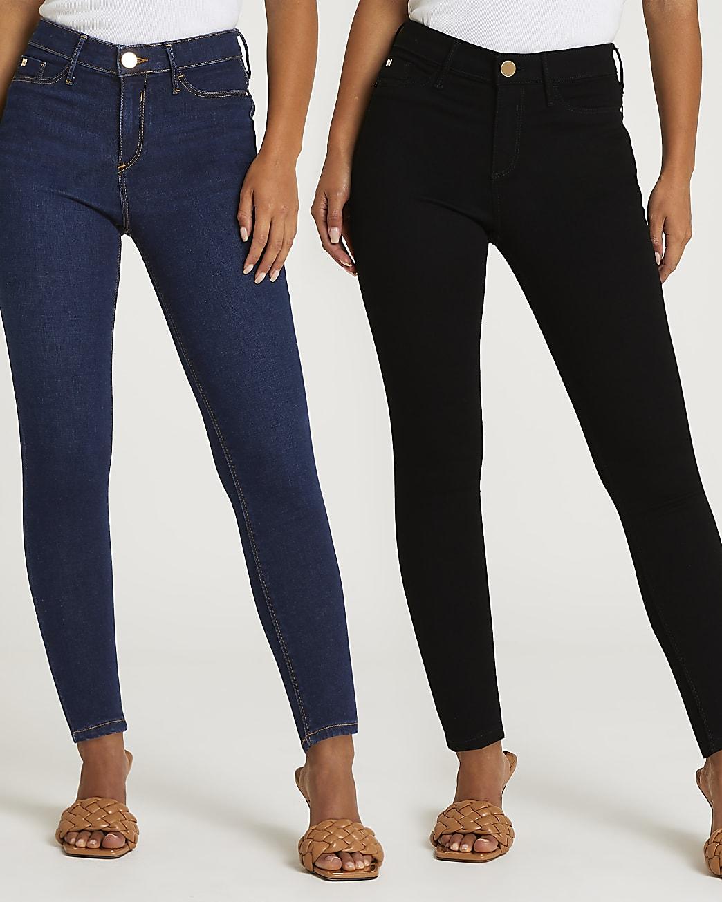 Petite black Molly skinny jeans multipack