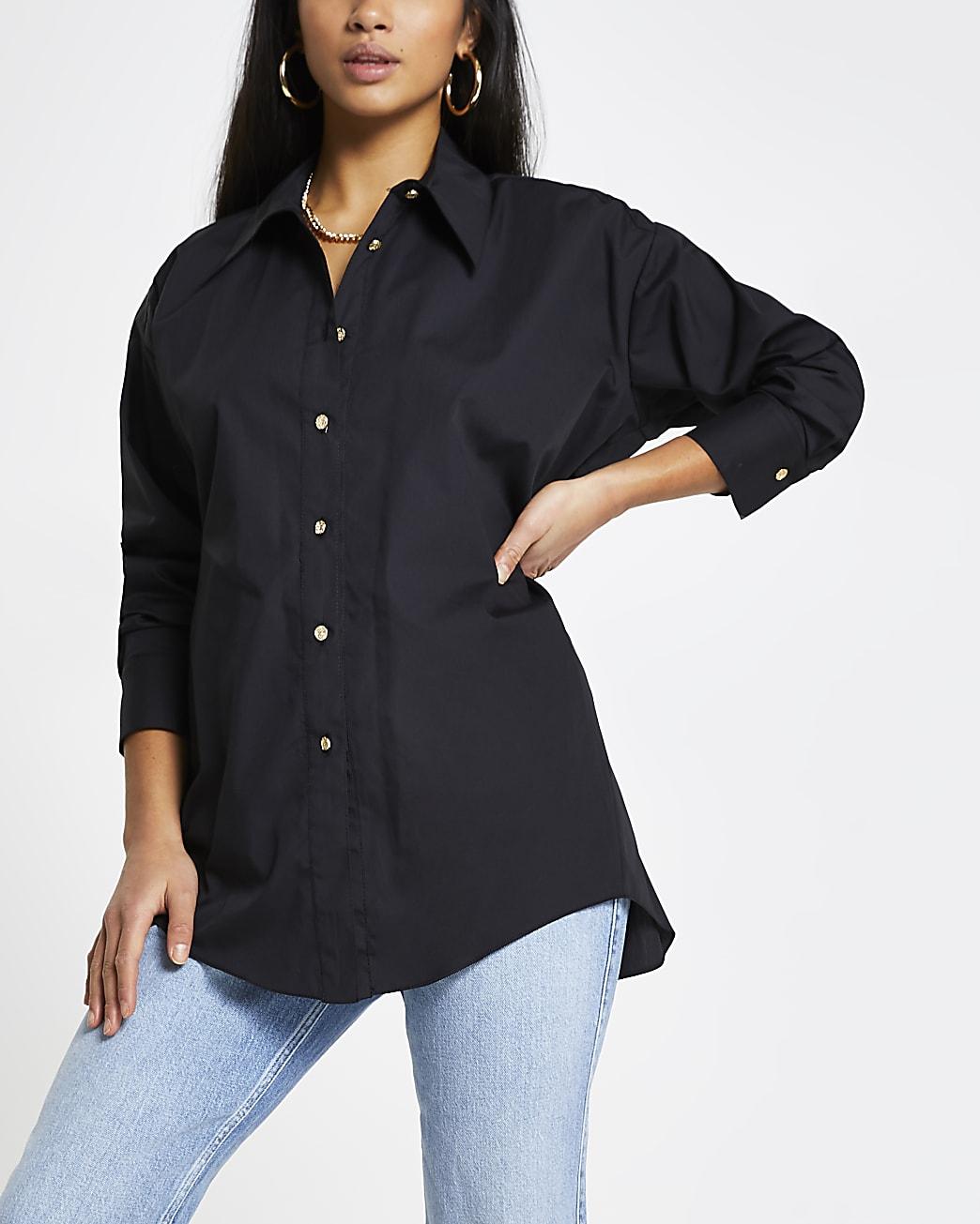 Petite black open back shirt