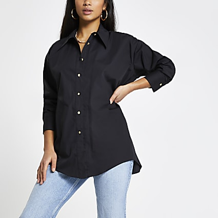 Petite black open back shirt