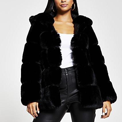 Petite black panelled faux fur coat