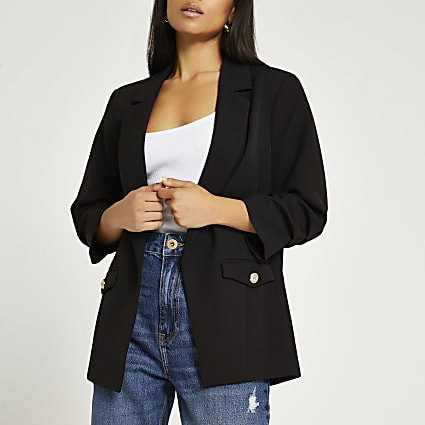 Petite black pocket detail blazer