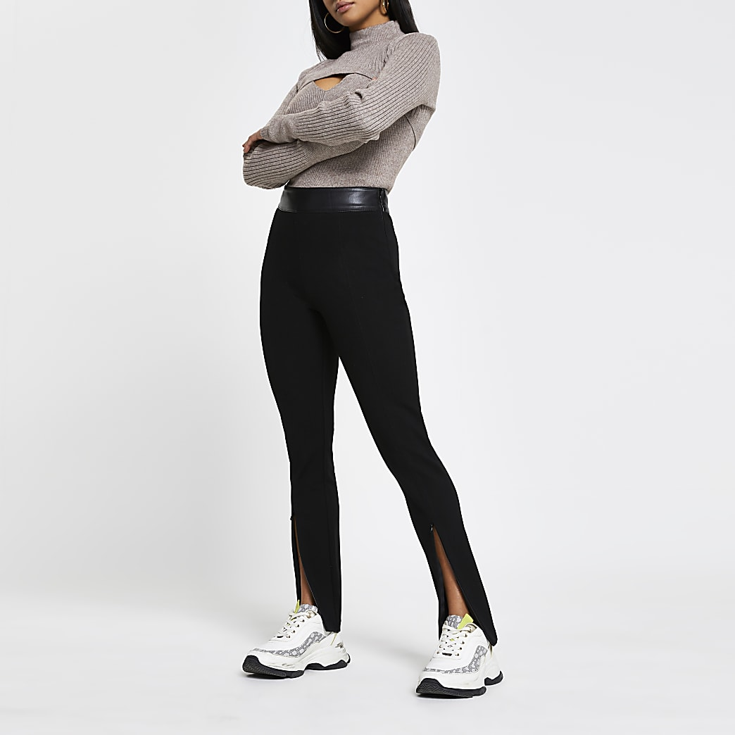 Petite black ponte zip split hem leggings