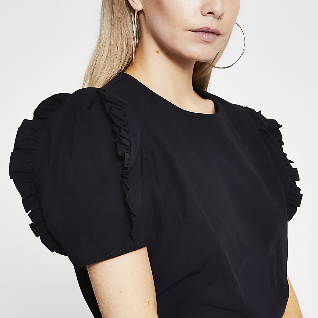 Petite black poplin frill sleeve top