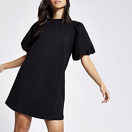 Petite black poplin puff sleeve T-shirt dress