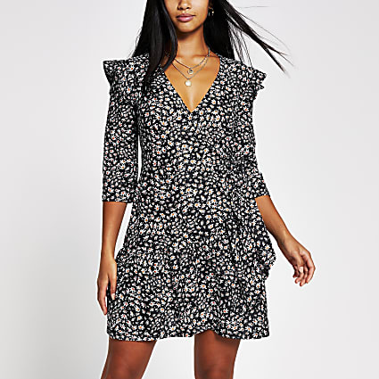 Petite black print frill hem wrap dress