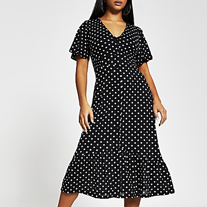 Petite black printed button midi dress