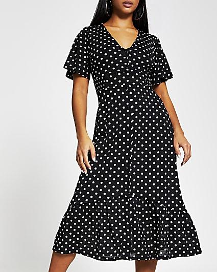 Petite black printed button midi dress