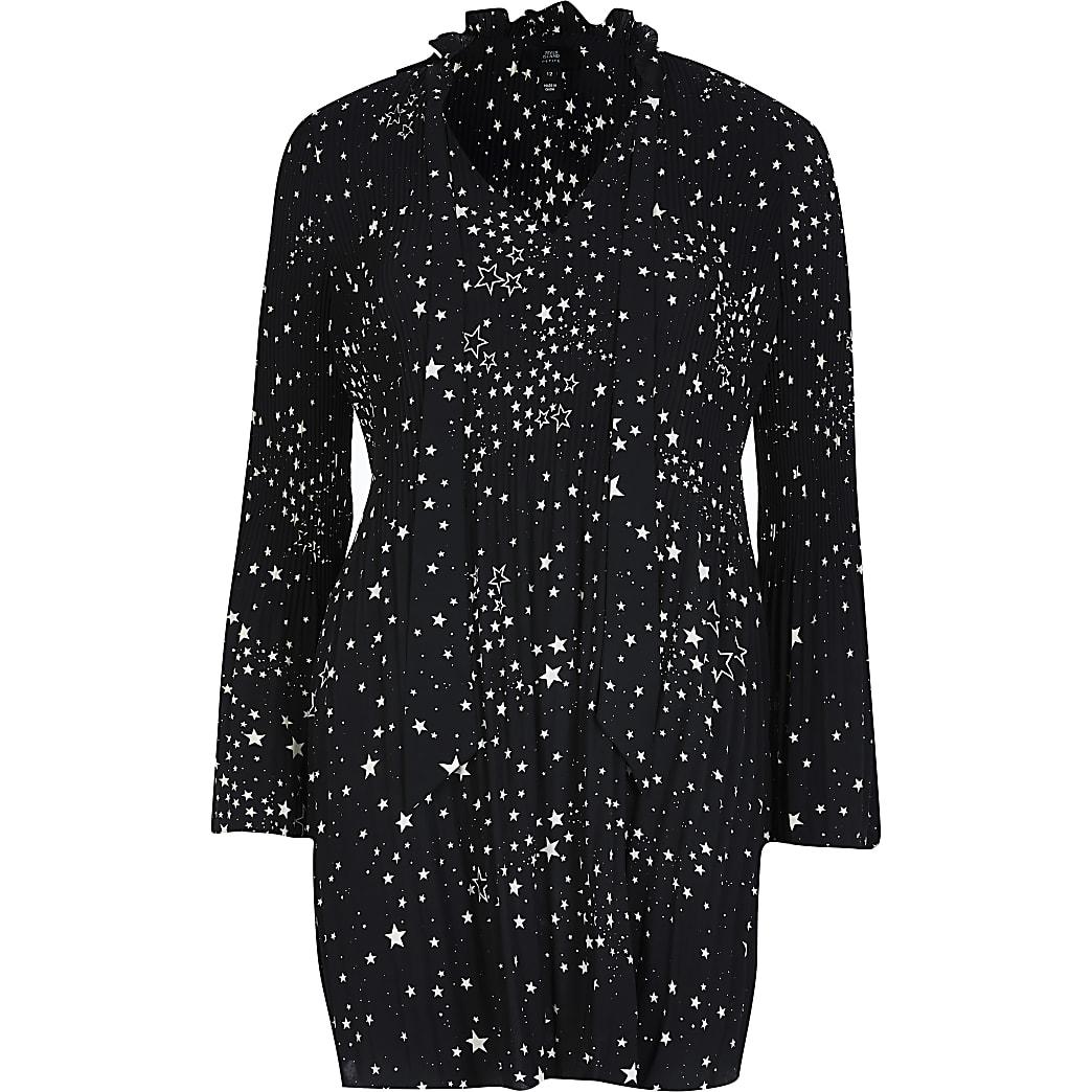 Petite black printed long sleeve mini dress