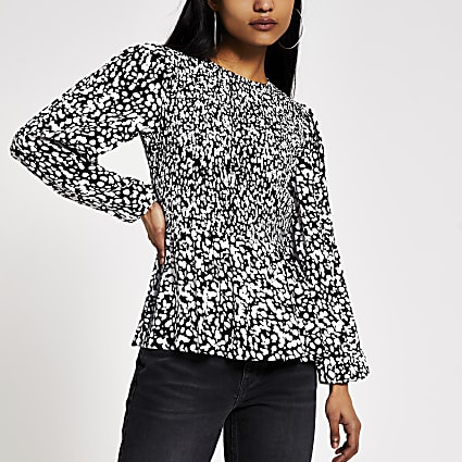 Petite black printed shirred diamante top