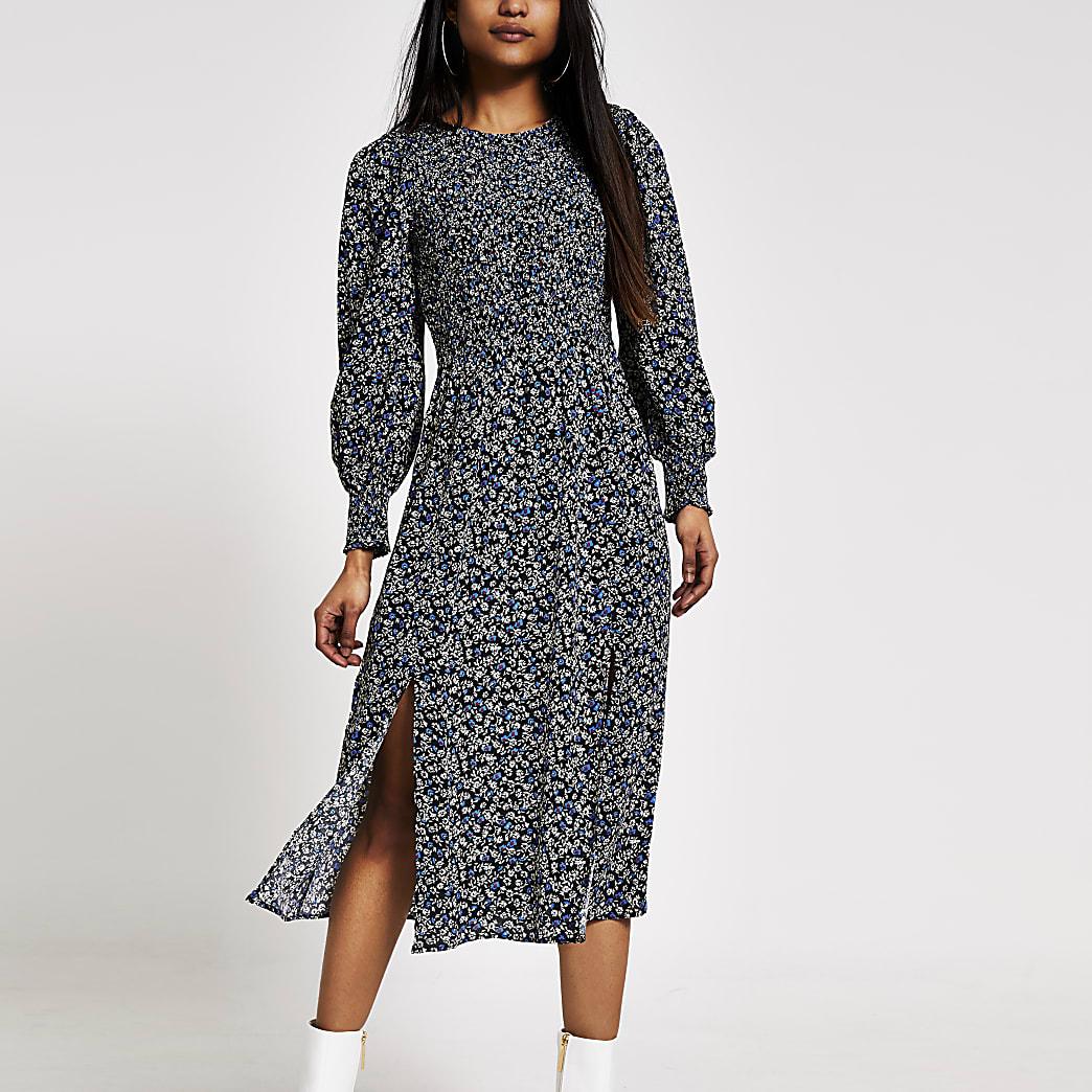 Petite black printed shirred midi dress
