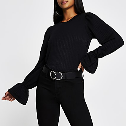 Petite black puff sleeve crew neck top