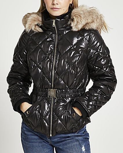 Petite black quilted puffer coat