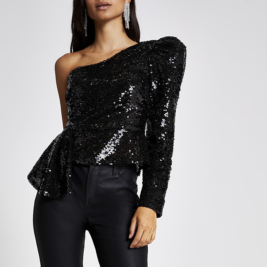 Petite black sequin one shoulder peplum top