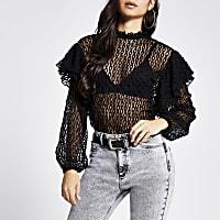 Petite black sheer lace blouse