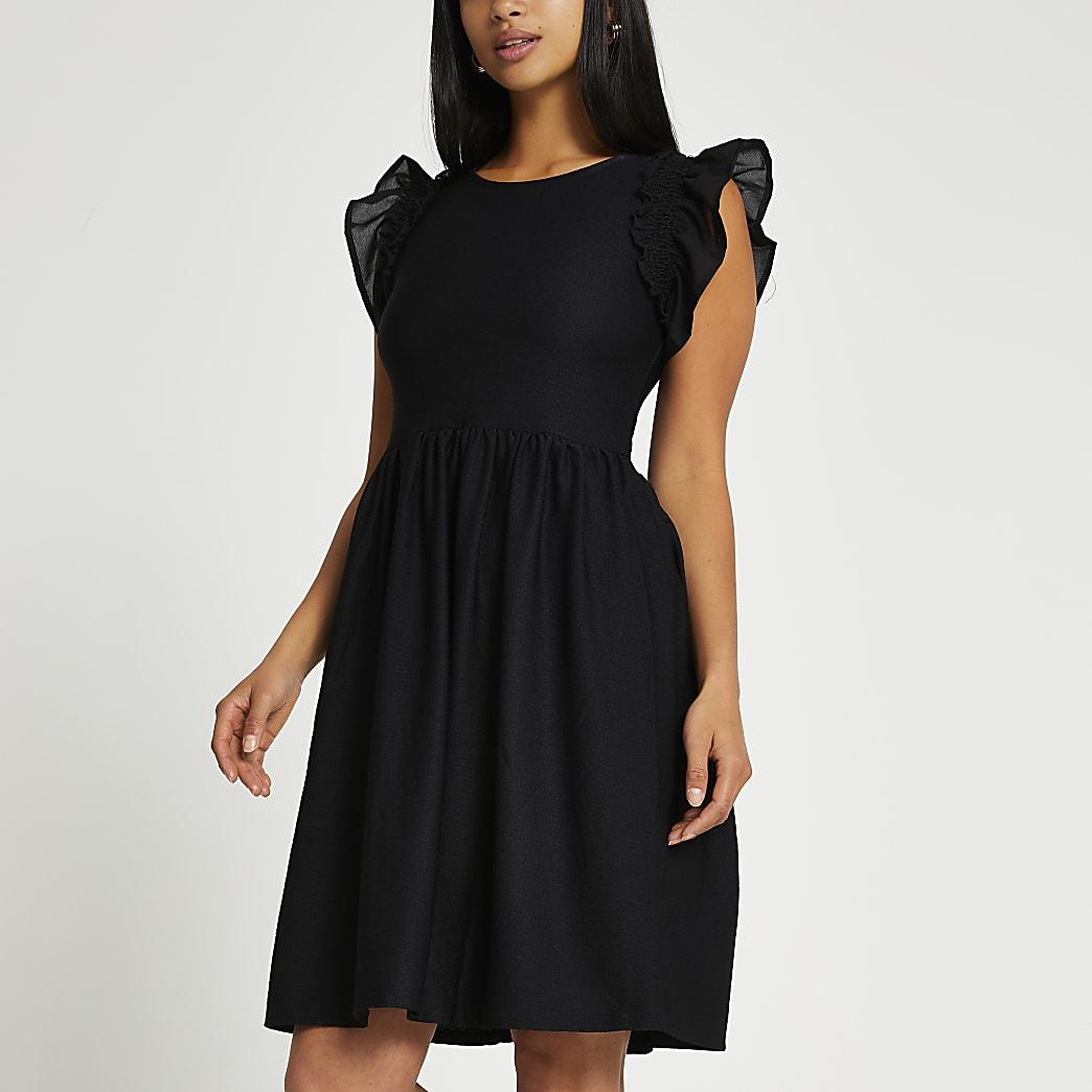 Petite black short frill sleeve midi dress