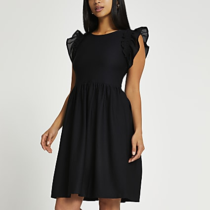 Petite black short frill sleeve mini dress