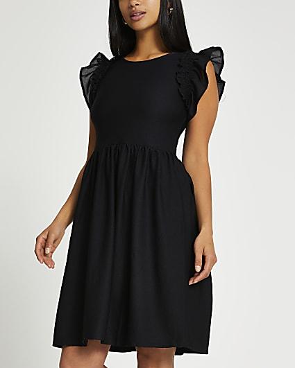 Petite black short frill sleeve mini dress