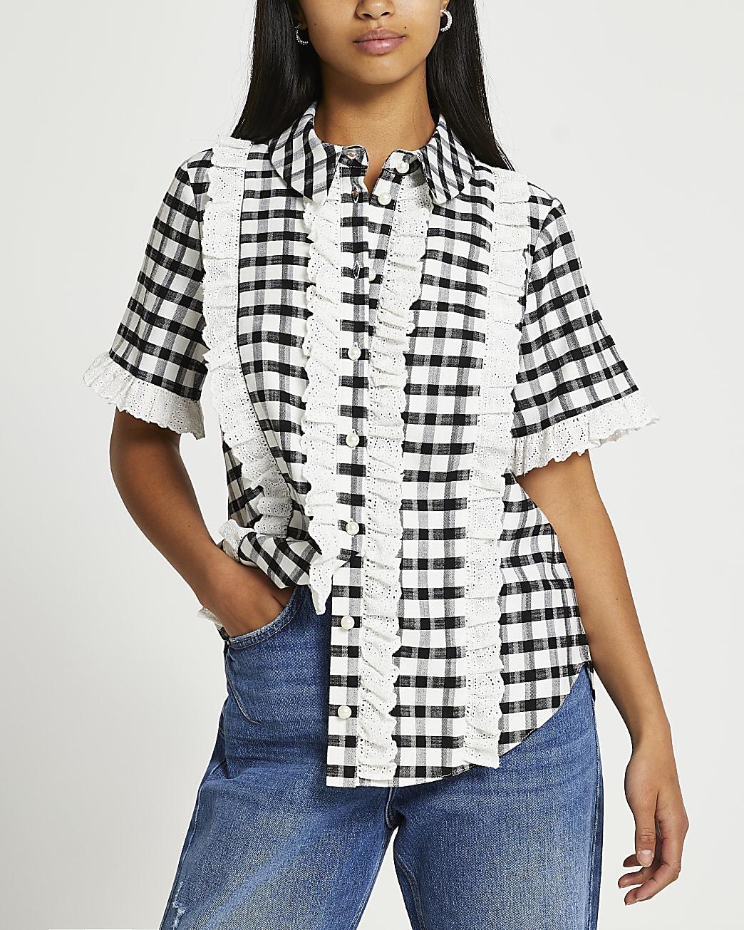 Petite black short sleeve frill checked shirt