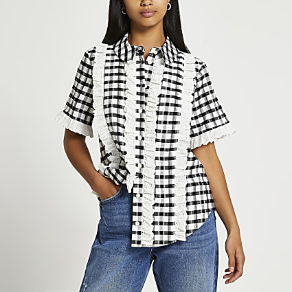 Petite black short sleeve frill checked shirt
