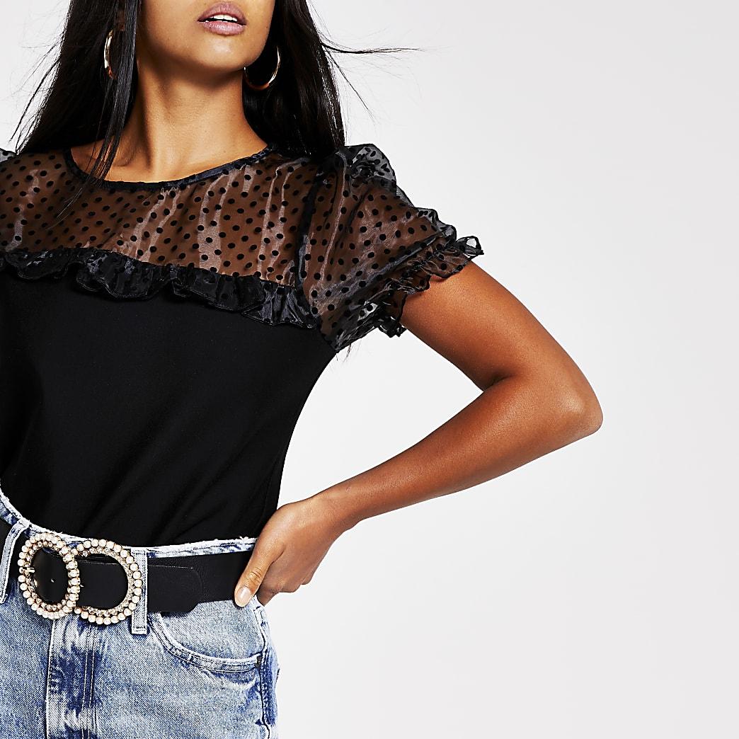 Petite black short sleeve organza top
